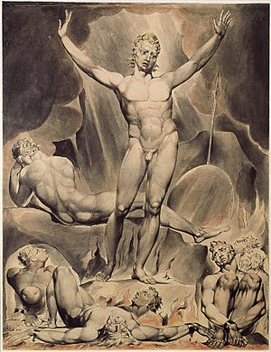 Satan - William Blake's illustration of Satan as presented in John Milton's Paradise Lost. Illustration was made  c. 1808.