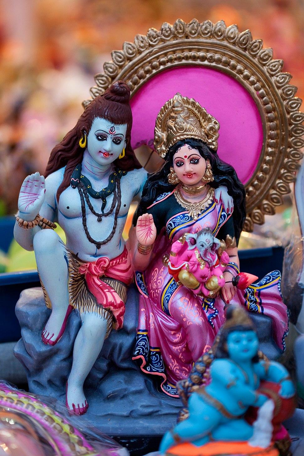 Parvati and Shiva as Navaratri Golu Dolls Tamil Nadu