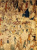 Defeat of the Villasur expion depicted on buffalo hide