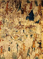 Painting of a group of Native Americans surrounding and fighting with explorers