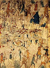 Villasur's force is surrounded by Indians;  Depiction of an unknown artist on a buffalo skin