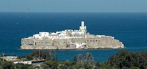Alhucemas Islands - Peñón de Alhucemas, viewed from the Moroccan coast