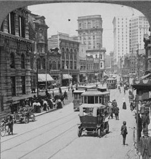 Peachtree Street - Peachtree Street in 1907, carrying streetcar, horse, and automobile traffic.
