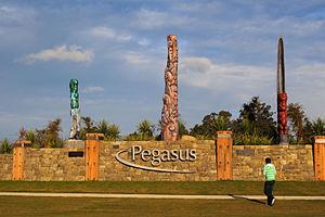 Pegasus Town - Entrance feature at Pegasus Town