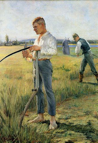 A painting of a farmer sharpening scythe.