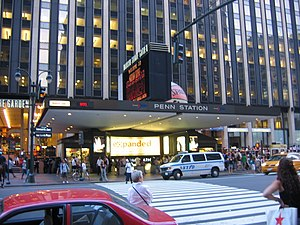 Pennsylvania Station (New York City) - Entrance on Seventh Avenue, with Madison Square Garden and Penn Plaza in the background.