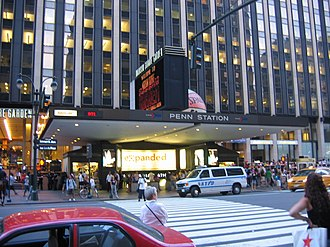 Pennsylvania Station (New York City) - Entrance on Seventh Avenue, with Madison Square Garden and Penn Plaza in the background