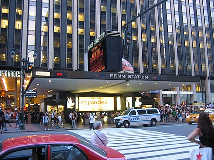 Penn Station in Midtown Manhattan, New York City, the busiest transportation hub in the Western Hemisphere. Penn Station NYC main entrance.jpg