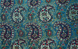 Paisley (design) - Persian silk brocade with gold and silver thread (golabetoon), woven in 1963.