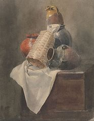 Still Life- Pots, Basket and Cloth on a Chest