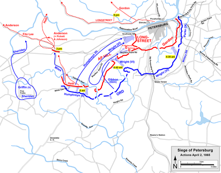 Grant's final Petersburg assaults and the start of Lee's retreat Petersburg Apr2.png