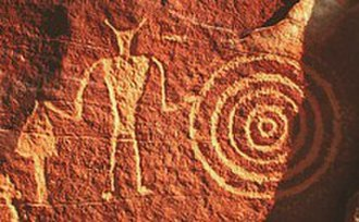 Rock art - Petroglyph attributed to Classic Vernal Style, Fremont archaeological culture, eastern Utah, USA.