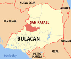 Map of Bulacan showing the location of San Rafael