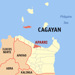 Map of Cagayan with Aparri highlighted