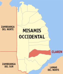 Map of Misamis Occidental showing the location of Clarin