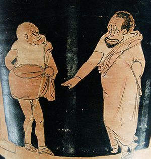 Slavery in ancient Greece - A master (right) and his slave (left) in a phlyax play, Silician red-figured calyx-krater, c. 350 BC–340 BC. Louvre Museum, Paris.