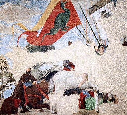 Piero della Francesca, Vittoria di Costantino su Massenzio, parte destra (De overwinning van Constantijn over Maxentius), le Storie della Vera Croce, Basilica di San Francesco, Arezzo