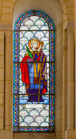 Carmes Prison - Pierre-Louis de La Rochefoucauld-Bayers, bishop of Saintes, one of the three murdered prelates. Window signed by Gustave Pierre Dagrant in the Basilique Saint-Eutrope de Saintes, Charente-Maritime.