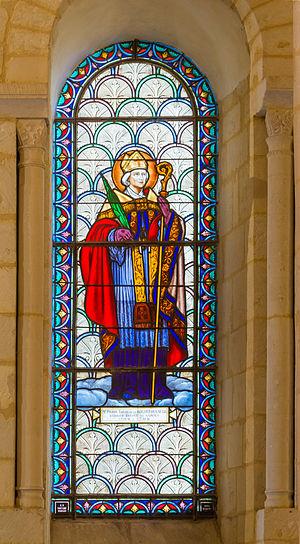 Carmes Prison - Pierre-Louis de La Rochefoucauld-Bayers, bishop of Saintes, one of the three murdered prelates. Window signed by Gustave Pierre Dagrant in the Basilique Saint-Eutrope de Saintes, Charente-Maritime.