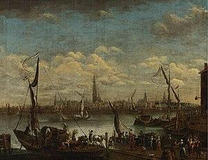 Pieter Casteels II -  A View of the Antwerp Port
