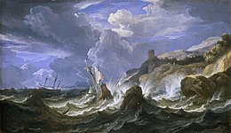 Pieter Mulier A Ship Wrecked in a Storm off a Rocky Coast.jpg