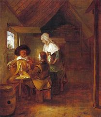 Two soldiers drinking with a serving woman