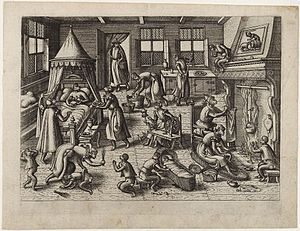 Pieter van der Borcht the Elder - The Nursery, c. 1585, an example of a 'singerie'