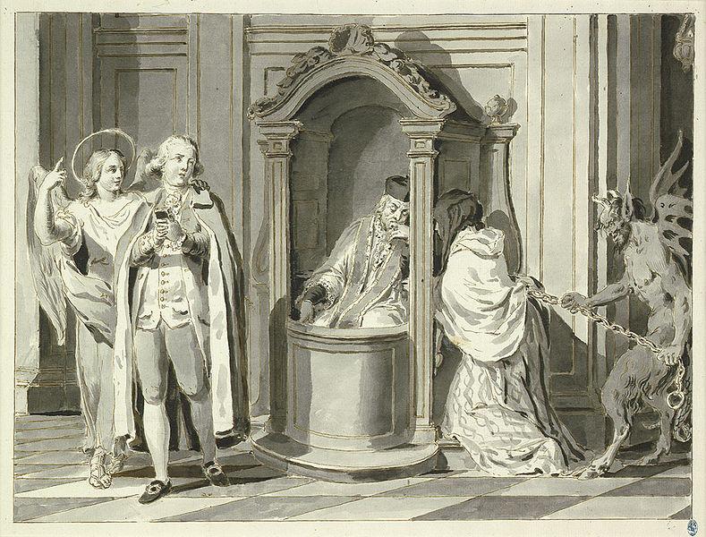 LES HEURES DE LA JOURNÉE CHRÉTIENNE, Où sont enseignées LES VOIES DU SALUT - France - année 1690 789px-Pietro_Antonio_Novelli_Sakramente_Beichte