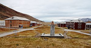 Agriculture in Svalbard - Pyramiden's central square, 2012