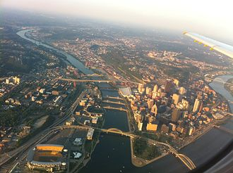 Transportation in Pittsburgh - At least 15 of Pittsburgh's bridges are visible in this aerial photo.