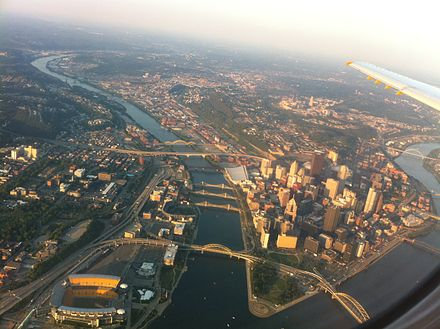 At least 17 of Pittsburgh's bridges are visible in this aerial photo Pittsburgh, Pennsylvania.jpg