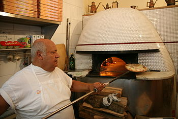 Woodfired pizza oven at Pizzeria Sorbillo, Naples