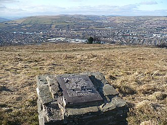 Caerphilly - Plaque on Caerphilly Common Looking north-west from the top of Caerphilly Common towards Mynydd Meio ST1188