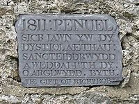 Plaque on Capel Penuel-Peniel at Peniel, Bachau - geograph.org.uk - 1399707.jpg