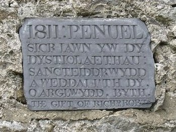 English: Plaque on Capel Penuel/Peniel at Peni...