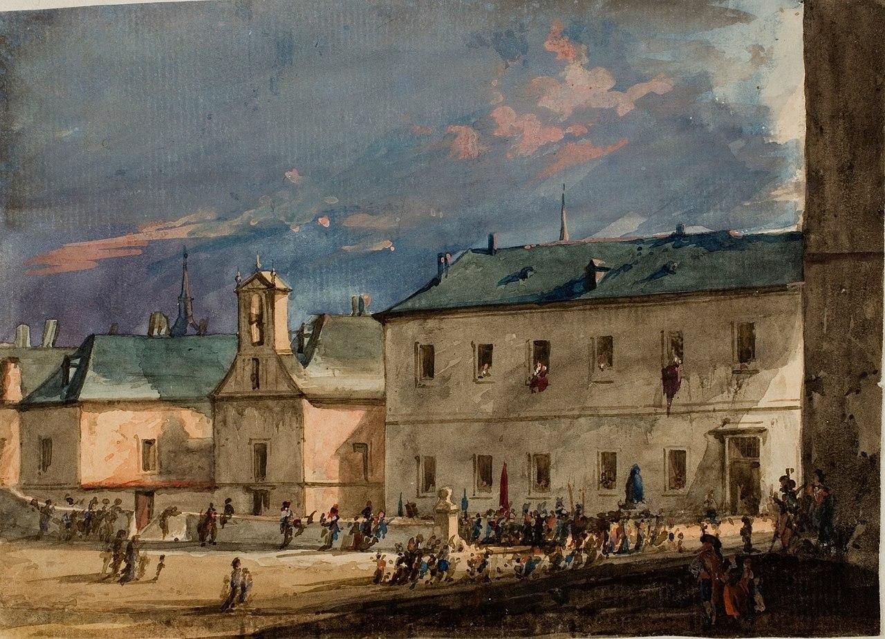 Plaza de El Escorial con el Santuario de la Virgen de Gracia.jpg