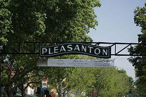 Pleasanton, California - Pleasanton sign on Main Street