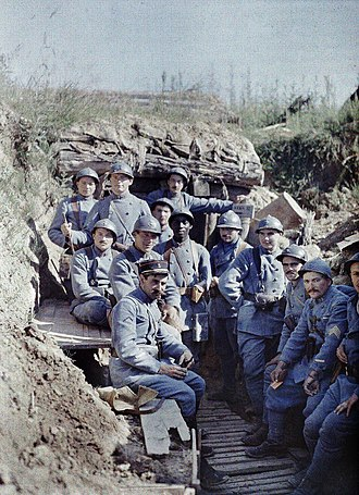 French Army in World War I - French poilus (soldiers) posing in a trench, 16 June 1917.