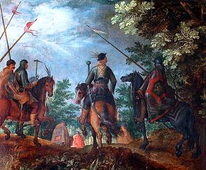 Marche de cavaliers polonais dans un bois