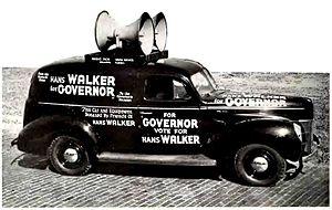 Sound truck - Political campaign sound truck belonging to 1940 Florida, USA gubernatorial candidate Hans Walker.