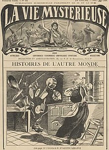 The cover of the 1911 French magazine La Vie Mysterieuse illustrating a story about a servant girl experiencing poltergeist activity.