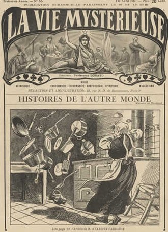 Psychokinesis - Artist conception of spontaneous psychokinesis from 1911 French magazine La Vie Mysterieuse.