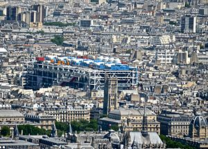 Pompidou Center from the Tour Montparnasse, Paris May 2014.jpg