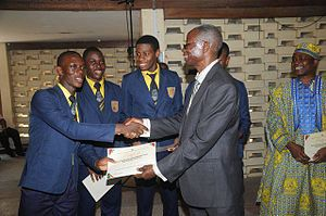 Education in Ghana - Senior High School Students of the Pope John Senior High School and Minor Seminary receiving their WASSCE upon Graduation prior to entering University Education for their Academic Degrees in Ghana.