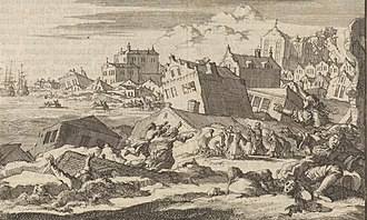 Fulke Rose - The Port Royal earthquake of 1692 as imagined by Jan Luyken. Published by Pieter van der Aa