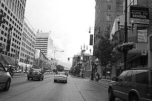 Winnipeg Route 85 - Looking west down Portage Avenue, one of Winnipeg's busiest streets.