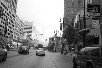 Winnipeg Route 85 - Looking west down Portage Avenue, one of Winnipeg's busiest streets.