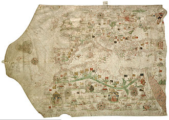Vellum - A portolan chart (map) by Jacobo Russo (Giacomo Russo) of Messina (1533)