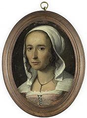 Portret van een vrouw, zogenaamd zelfportret van Anna Maria van Schurman (1607-78)