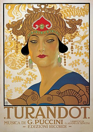 "Turan - Poster of the opera by Puccini, Turandot (1926). The name of the opera is based on Turan-Dokht (""daughter of Turan""), which is a common name used in Persian poetry for Central Asian princesses."